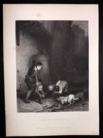 After David Wilkie C1870 Antique Print. The Rat Hunters